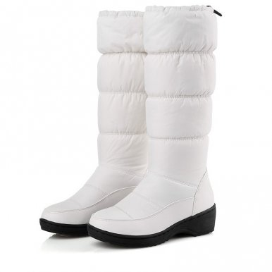 Knee High Wedge Snow Boots with Faux Fur Liner