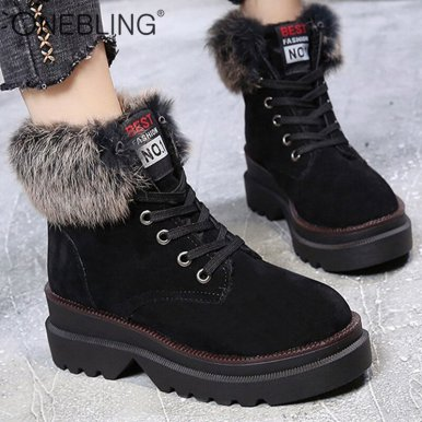 Chunky Sole Ankle Boots with Faux Fur Trim