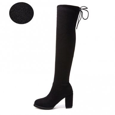 Heeled Knee High Boots In Black
