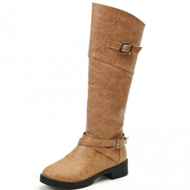 Plus Size Zipper Knee High PU Boots with Straps
