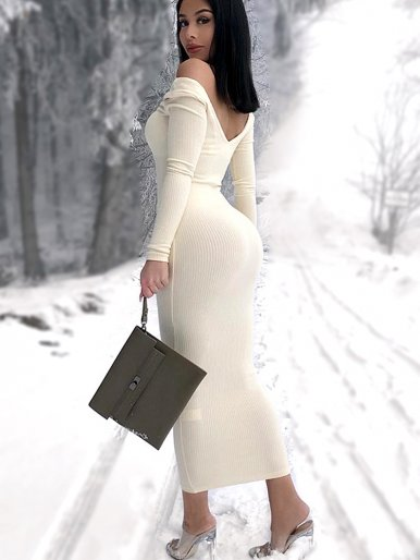 V Neck Midi Jumper Dress