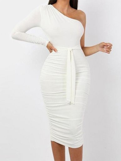 One Shoulder Ruched Midi Dress with Long Sleeve and Tie Waist