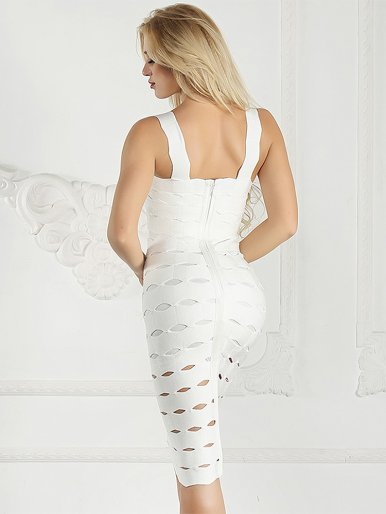 Strappy Bandage Bodycon Midi Dress with Cut Out Detail