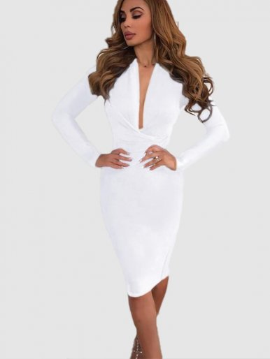 Plunge Front Long Sleeve Midi Dress with Zip Back