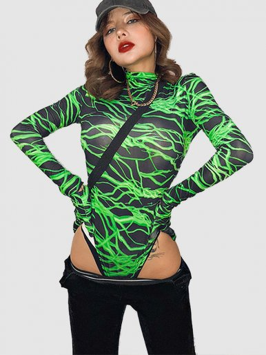 High Neck Bodysuit In Green Lightning Print with Gloves