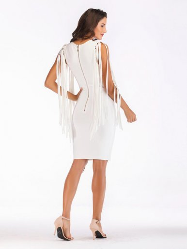 Deep V Bodycon White Midi Dress with Tassel