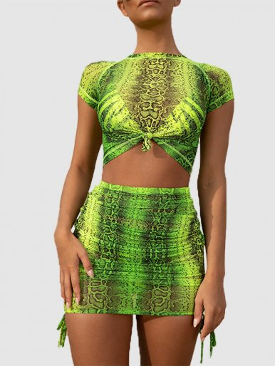 Tie Detail Crop Top and Mini Skirt Snake Mesh Set