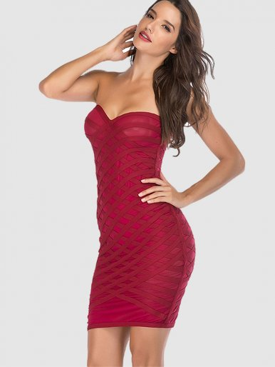 Diamond Mesh Overlay Bandeau Mini Dress In Red