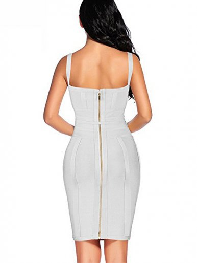 Deep V Neck Zipper Back Bodycon Midi Dress with Tie Waist