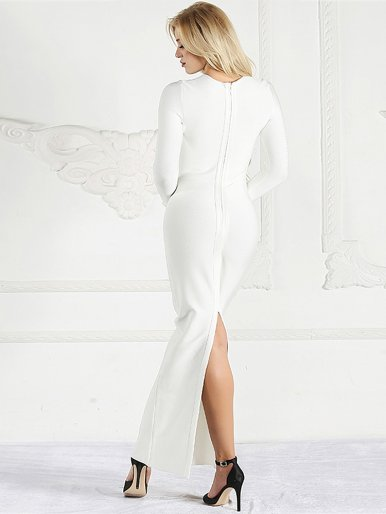 Long Sleeve Maxi Pencil Dress In White with Mesh Insert