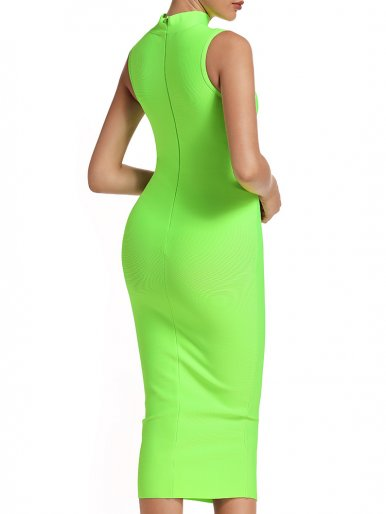 Sleeveless High Neck Bodycon Midi Dress