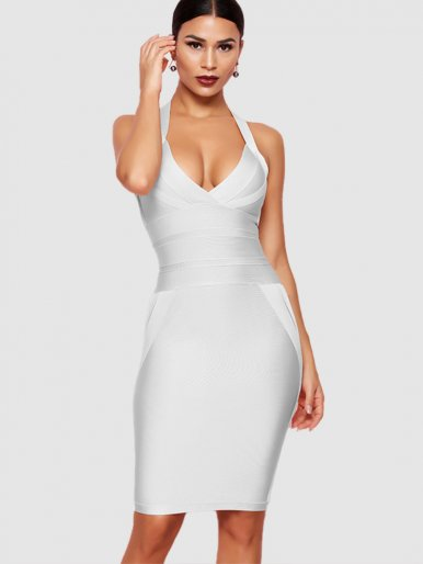 Bodycon Halter Neck Midi Dress