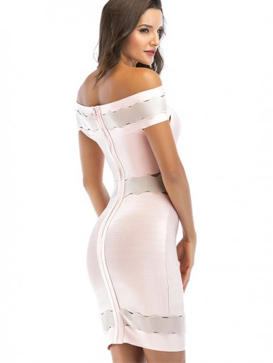 Off Shoulder Bandage Midi Dress with Contrast Panels