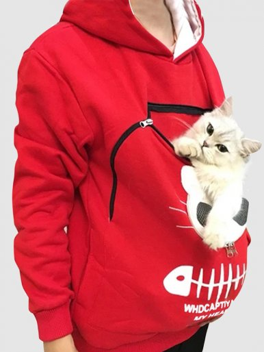 Stick Pet's Head Out Hoodies Kangaroo Pouch Sweatshirt