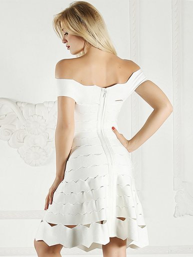 Bandage Bodycon Off Shoulder Midi Dress In White with Scallop Edge