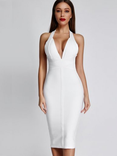 V Neck Halter Bandage Midi Dress
