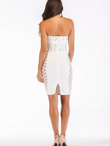 Bandeau Mini Dress with Lattice Detail and Floral Lace Panels