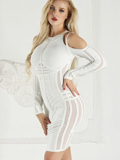 Cold Shoulder Strappy Bodycon Mini Dress with Mesh Panels