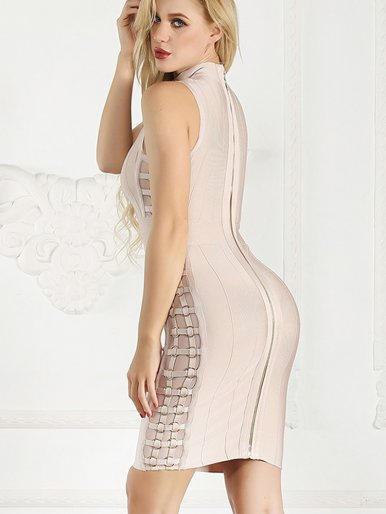 High Neck Bandage Bodycon Mini Dress with Embellished
