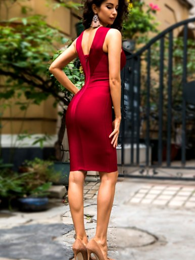 Deep V Neck Bodycon Mini Dress with Zipper Back