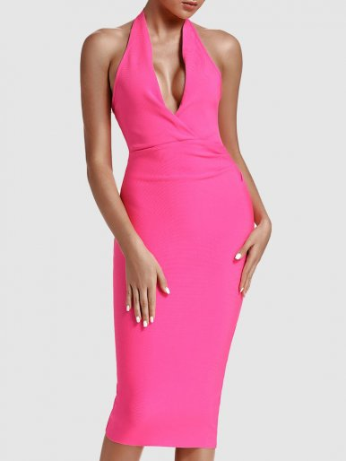 Wrap Front Halter Bodycon Midi Dress