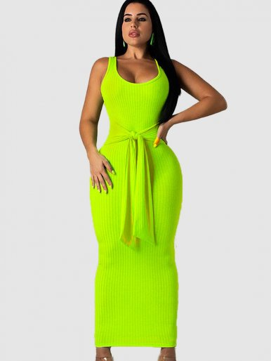 Sleeveless Knit Maxi Dress with Tie Waist