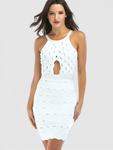 Halter Neck Bandage Mini Dress In White with Cut Out