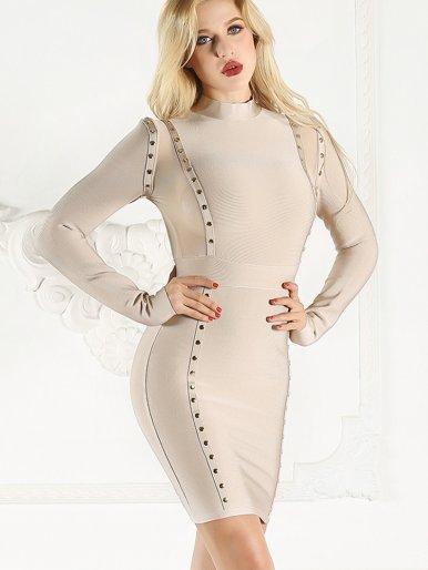 Long Sleeve High Neck Bodycon Mini Dress with Mesh Panels and Linear Rivets