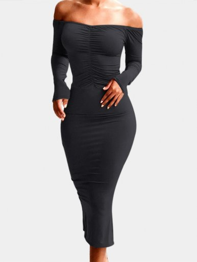 Off Shoulder Midi Dress with Ruched Detail
