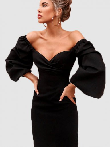 Sweetheart Wrap Front Midi Dress with Puff Sleeve