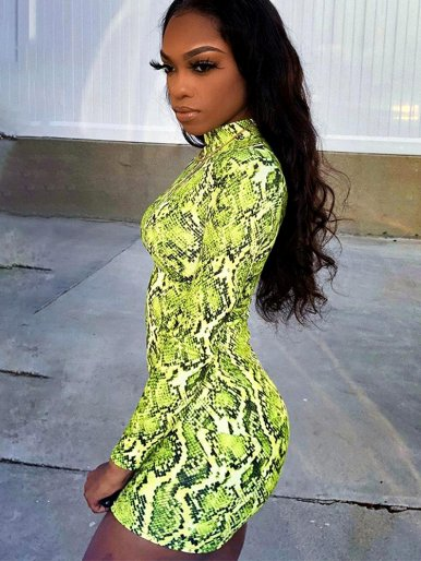 High Neck Bodycon Mini Dress In Green Snake