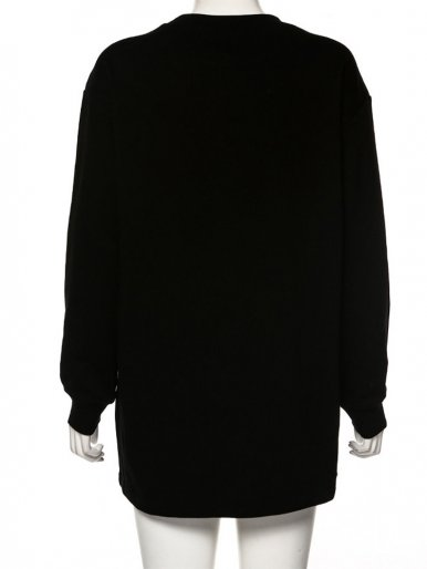 Drop Shoulder Graphic Sweatshirt In Black