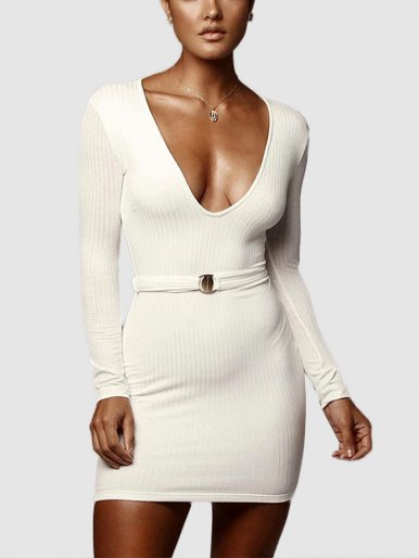 Deep V Neck Bodycon Mini Dress with Belt