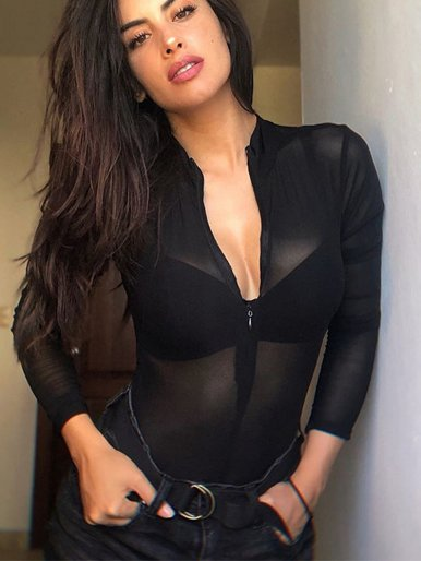 Zipper Front Long Sleeve Mesh Bodysuit In Black