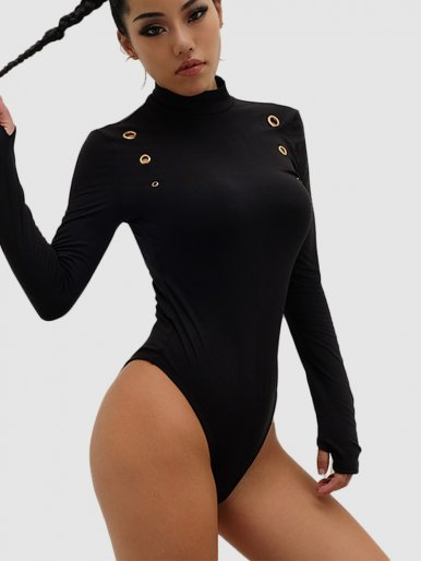 Long Sleeve High Neck Bodysuit In Black with Eyelet Detail