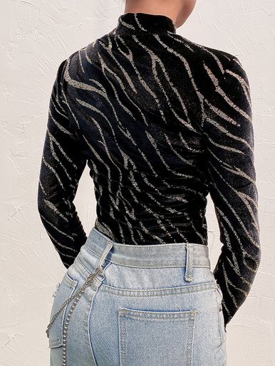 High Neck Velvet Bodysuit In Black with Tiger Crystal Embellished