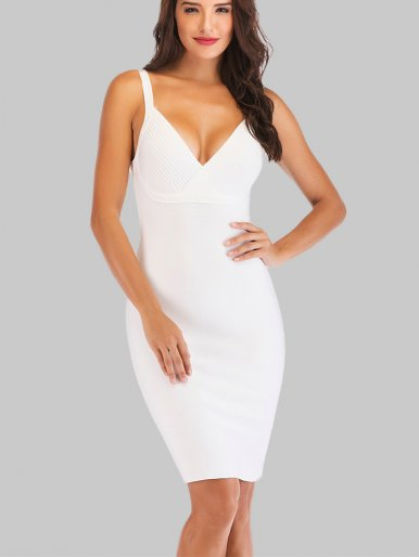 Cami Bodycon Mini Dress In White With Zipper Back