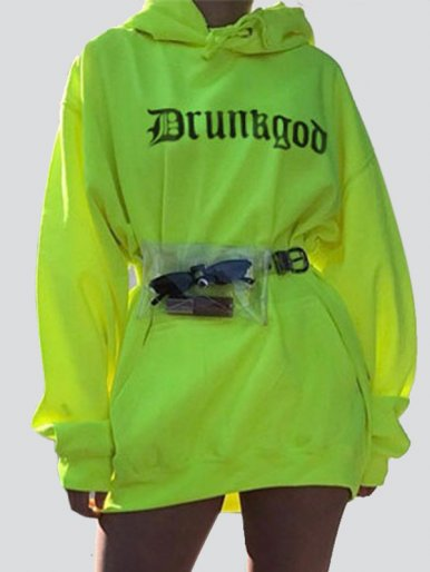 OneBling Letter Print Long Line Hoodies In Bright Green