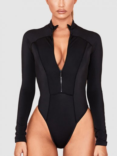 Long Sleeve Black Bodysuit with Zip Front
