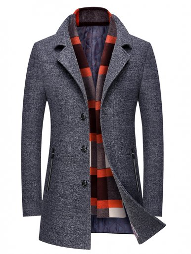 Plus Size Men Thick Wool Coat with Detachable Scarf