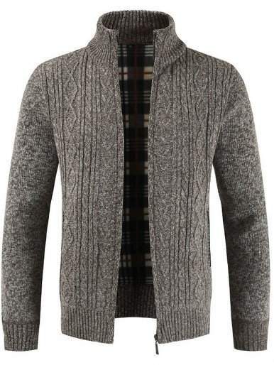 Knitted Check Lined Thick Stand Up Collar Zipper Men Jacket