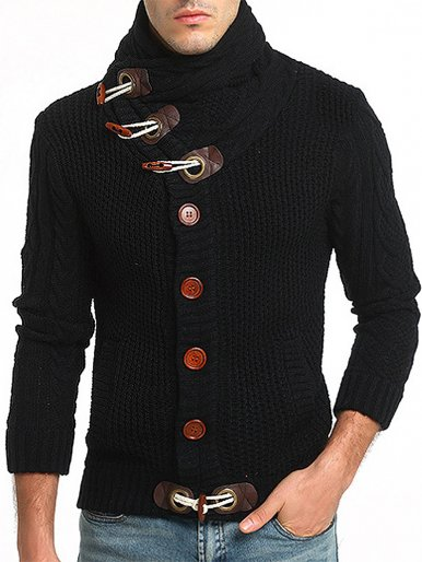 High Neck Cable Knit Men Jumper with Button Embellished