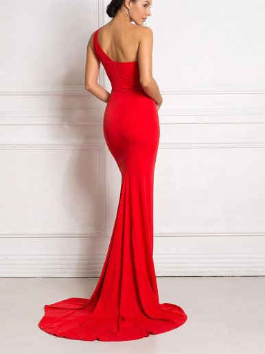 One Shoulder Fishtail Maxi Dress with High Split