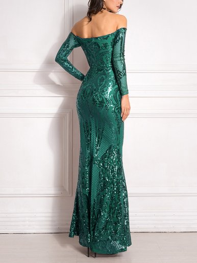 Sequins Padded Bardot Fishtail Maxi Dresses with Long Sleeve