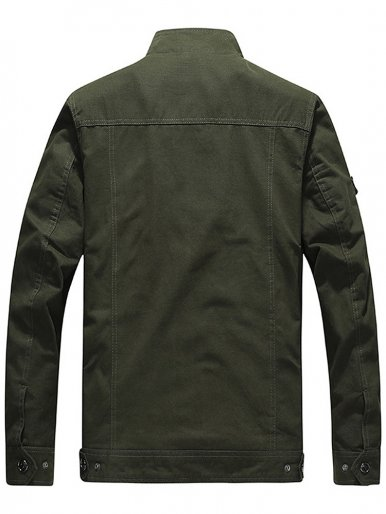 Plus Size Men Utility Jacket with Patch Detail