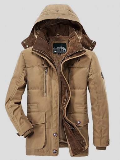 Men Casual Warm Padded Parka Cotton Coat