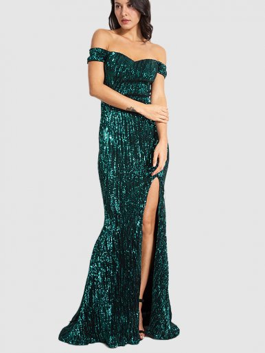 Sequins Off Shoulder Fishtail Maxi Dress with Thigh Split