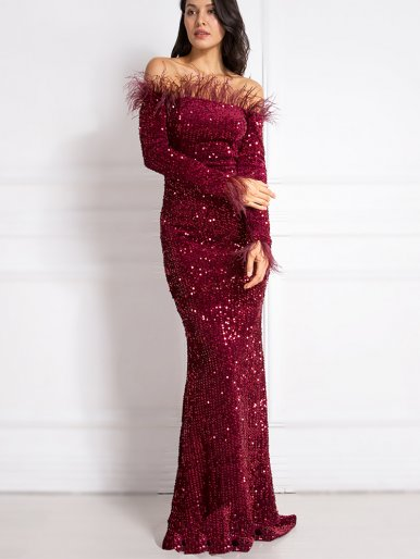 Sequin Bardot Velvet Fishtail Maxi Dress with Feather Trim