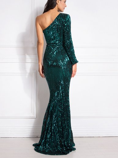 One Shoulder Sequin Fishtail Maxi Dress