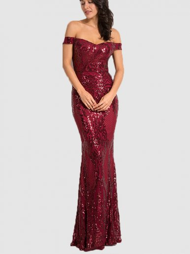 Sequin Off Shoulder Padded Fishtail Maxi Dress